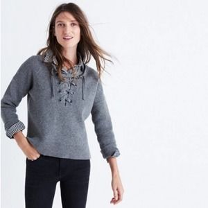 Madewell Lace Up Pullover Grey Sweater Merino Wool